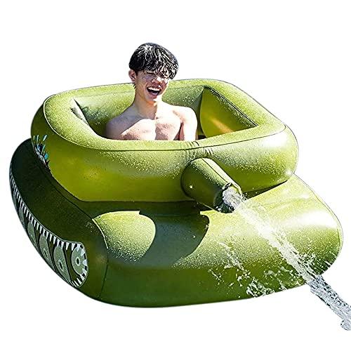 Aufblasbarer Tank-Schwimmring Wasserstrahl-Schwimmring mit Wasserkanone Aufblasbares Pool-Schwimmerspielzeug mit Spritzpistole Sommer-Wasserspielzeug im Freien für Erwachsene Kinder(61x43,7x23,6 Zoll)