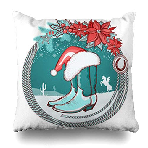 Babydo kussensloop op Amerikaanse cowboylaarzen Santa Red Poinsettia hoed vakantie kerstboom blauwe westerse bank 45X45Cm vierkant standaard huisdecoratie kussensloop stoel Individu