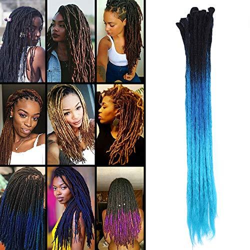 """TESS 24\"""" Braids Extensions Ombre Schwarz/Blau Kunsthaar Braiding Hair Crochet Synthetik Haar 5 Bündel 35g/Packung 60cm Dreadlock Haarteil Haarverlängerung"""