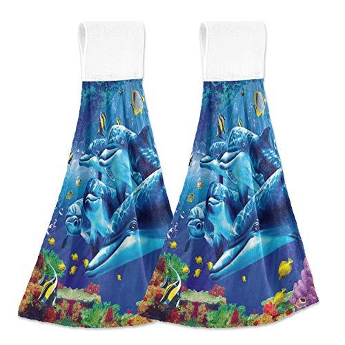 3D Underwater World Hanging Kitchen Towel 2 Pack Summer Sea Dolphin Decorative Navy Soft Microfiber Hand Towels Loop for Bathroom Washcloth Absorbent Tie Towel