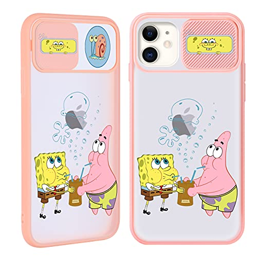 Joyleop Push Spongebaby Case for iPhone 11 6.1',Cartoon Cover Unique Design Kawaii Fun Funny Cute Cool Designer Aesthetic Fashion Stylish Pretty Protective Cases for Girls Boys Men Women for iPhone 11