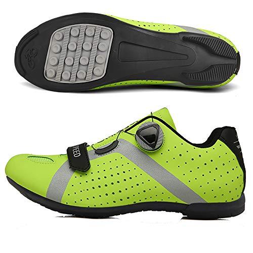 LU-Model Zapatillas de Ciclismo para Carretera Plus, con Suela de y Sistema rotativo de precisión Suela Dura para Zapatos de Montar sin Bloqueo Yellow-43