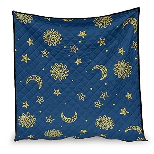 YshChemiy Sun Moon - Colcha de algodón con dibujos animados para silla, cómoda, manta para niños y niñas, 173 x 203 cm, color blanco
