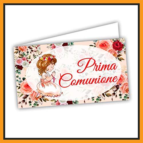 Bigliettini Prima Comunione per Bomboniera, fazzoletti,confetti e sacchetti - 60 pezzi pretagliati - Facili da Personalizzare, Fai da Te, con Guida (FIORE)