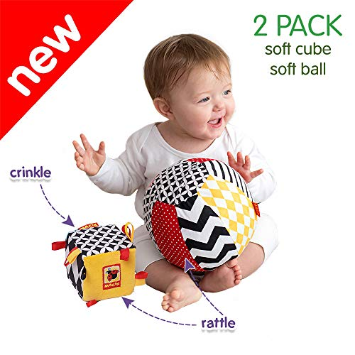 MACIK Set 2 Juguetes Bebe -- Juguetes Tacto Bebe - Juguetes Desarrollo 6-12 Meses -- Juguetes de Paseo Tipo Juguetes de Actividad para Gimnasio Bebe -- Juguete Arrugas y SONAJERO bebé recién Nacido