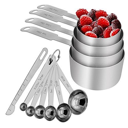 OneChois Set de Tazas y cucharas medidoras, Acero Inoxidable para Servicio Pesado, Juego de 11, Medidas grabadas - para Ingredientes líquidos y Secos