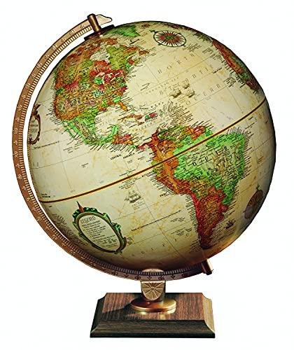 "Replogle 12"" Antique World Classic Globe with Square Base and Bonus Two-Side Laminated map(USA&World) 12""/30cm Diameter"