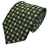 Silk Ties corbata de seda diamantes 8 cm, Krawatte Seide Rauten 8 cm:Verde