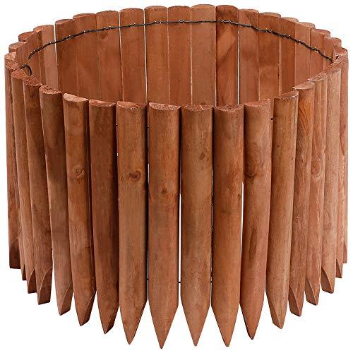 JonesHouseDeco Borde de madera para jardín al aire libre, jardín, paisaje, flexible, borde decorativo, longitud 120 cm x altura 30 cm - marrón claro