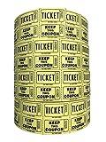 Ticket Guru-Raffle Tickets – 4 rollos de 2000 dos billetes, 8.000 total 50/50 grifos de rafia {elegir color combo por debajo} (4 rollos de amarillo)