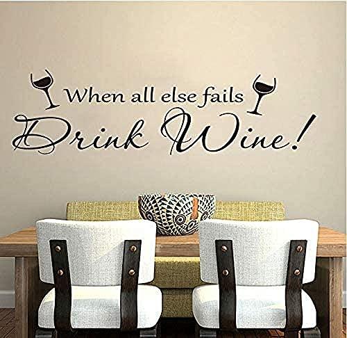 Cita de vino Etiqueta engomada de la pared Cocina Cita de vino Decoración de pared Comedor Restaurante Vinilo Decoración para el hogar 95x27cm