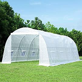 MELLCOM 20' x 10' x 7' Greenhouse Large Gardening Plant Hot House Portable Walking in Tunnel Tent, White 1 【8 ROLL-UP SIDE WINDOWS】-The green house eight roll-up windows have mesh netting to allow for cross ventilation and climate control. 【HEAVY DUTY STEEL FRAME】-Walk-in Garden Greenhouse solid steel construction with a galvanized finish, which is resistant to rust, chipping, and peeling. 【TRANSPARENT PLASTIC COVER】-The tough, durable and transparent PE plastic cover protects plants while allowing nourishing sunlight to pass through. The cover can be easily attached to the frame with the included tethers and single-sided tape.