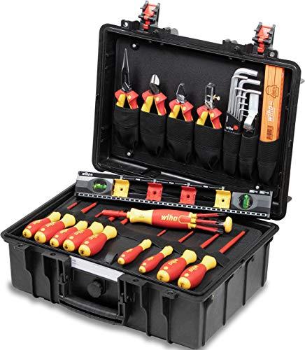 Wiha Lehrlingskoffer für Elektroinstallation (44505), VDE Montagekoffer mit Elektro Werkzeug, bestückt 34 teilig