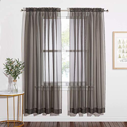 NICETOWN Modern Style Solid Sheer Curtains, Rod Pocket Decorative Window Treatment Translucent Voile Texture for Living Room, W60 x L72, Grey, 2 PCs