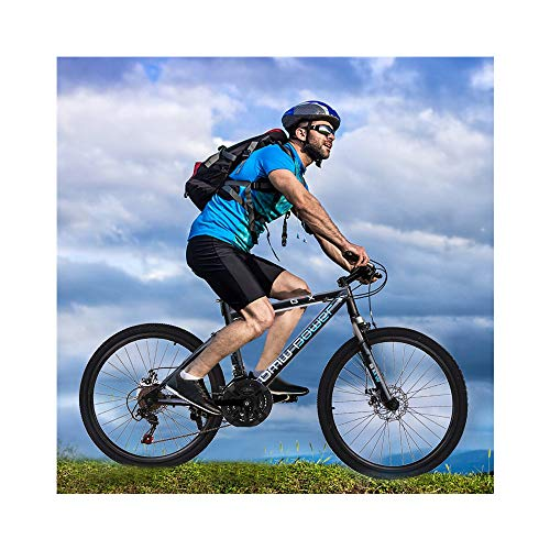 Huaze 26in Bicycle Carbon Steel Mountain Bike 21 Speed Bicycle Full Suspension Lightweight Adult Cruiser Bike Complete Bike for Mens/Womens Outdoor Bikes (Blue)