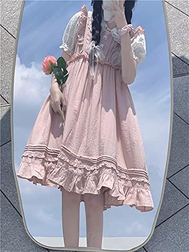 Shenme Camisa Blanca de Manga de Burbujas de Encaje Verano Dulce y Encantador Vestido de Encaje Rosado Vestido de Vestido de Lolita (Color : Pink, Size : M)