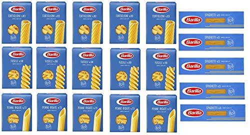 TESTPAKET Barilla italienisch Pasta ( 20 x 500g ) 4 Arten von Nudeln Penne Rigate - Fusilli - Spaghetti - Tortiglioni