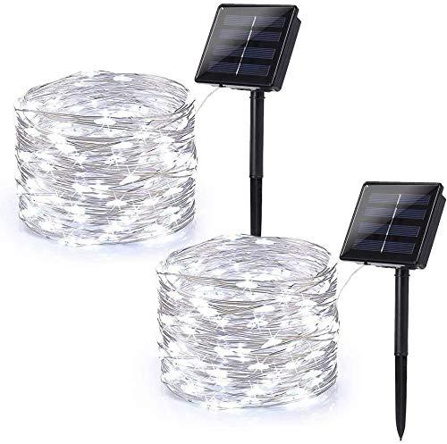[2 Stücke] Usboo® Solar Lichterkette, 15 Meter 150 weiße LED für Innen & Außen mit wasserdichten Kupferdrähten für Partys, Hochzeiten, Weihnachtsbeleuchtungen, Balkons, Garten, Bäume
