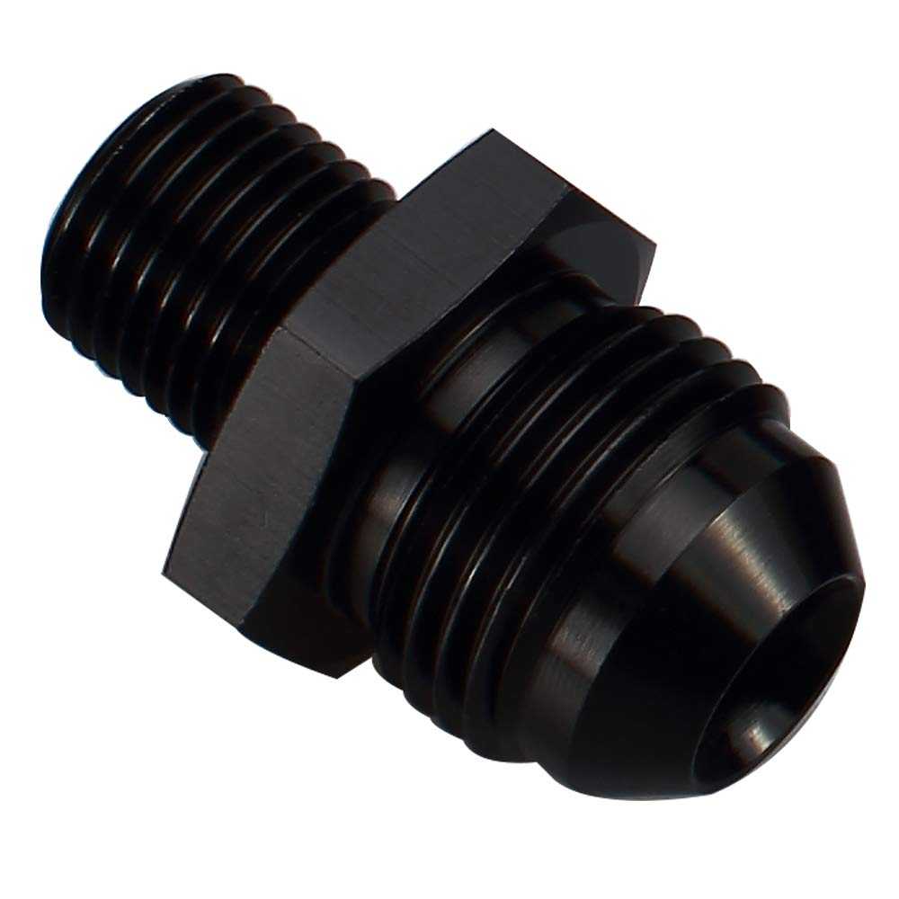6AN to M12x1.25 Male Metric Thread Pipe Fuel Fitting Adapter Black Anodized Straight Aluminum Male Flare