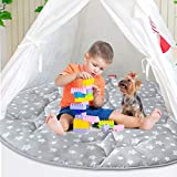 Pop Up Play Tent Mat, Baby Padded Floor Mat Round, Anti Slip Kids Tents Indoor Playhouses Mat, 40'' x 40'' Round Area Rug, Baby Play Mat Round, Pop Up Play Mat for Toddlers and Kids Playtime