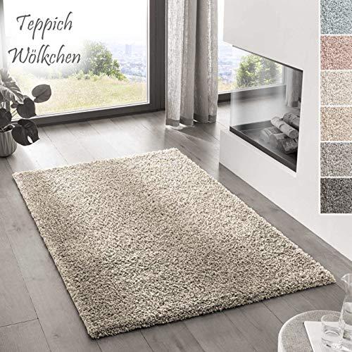 Teppich Wölkchen Shaggy-Teppich | Flauschiger Hochflor für Wohnzimmer, Kinderzimmer oder Flur Läufer | Einfarbig, Schadstoffgeprüft, Allergikergeeignet I Beige - 80 x 150