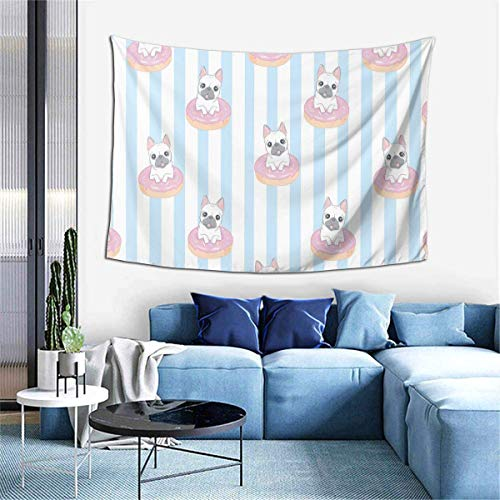 Cute Style Dog French Bulldog with Donut Room Tapestries, Natural Scenery Green Beach Blankets, Picnic Cloth, Sofa Cover Wall Hangings, Home Decoration Wall Hangings 80x60 inches