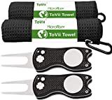ToVii Divot Repair Tool Golf Towel for Golf Bags with Clip Sets Divot Tool with Magnetic Golf Ball Marker Golf Accessories Kit 4 Packs