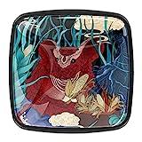 Tiradores cajón cristal 4 piezas perillas gabinete,Rata del zodiaco chino rojo ,para puerta cocina escritorio tocador