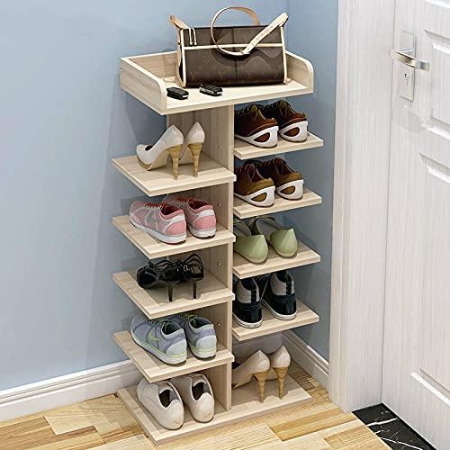 LANGYA Estante de Zapatos Simple, gabinete de Zapatos para el hogar, Zapatero Multicapa, Estante de Almacenamiento de Madera ensamblado multifunción 6layers
