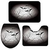 3 Pieces Bathroom Rugs and Mats Sets,Non Slip Water Absorbent Bath Rug,Toilet Seat/Lid Cover,U-Shaped Toilet Mat,Home Decor Doormats - Full Moon and Bats Halloween Themed