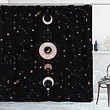 YoKii Zodiac Constellation Stoff Duschvorhang 84 Zoll Extra Lang Sonne & Mond Phrase Badezimmer Duschvorhang Sets, Modern Abstrakt Bad Gardinen Wasserdicht Galaxy Badezimmer Dekor (72 x 84, Schwarz)