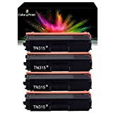 Color 4 Print Compatible 4 Pack TN-315 Black Toner Replacement for Brother TN-315 TN315BK TN-315BK MFC-L8600CDW MFC-L8850CDW HL-L8350CDW MFC-9970CDW HL-4150CDN (4 Pack,BBBB)