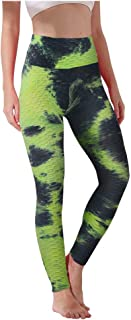 LEKODE Women Yoga Trousers High Waist Leggings Pants Tie-dye