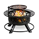 BALI OUTDOORS 32in Wood Burning Fire Pit Backyard Grill Set, Black, 24in