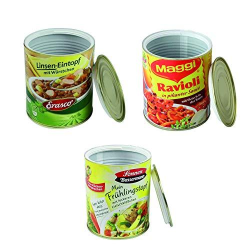 kogu Lot de 3 coffres de rangement avec coffre-fort - Cachette dargent dans une boîte de conservation - Pour raviolis