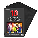 labphant 10 Pack 4x6 Inch Magnetic Picture Frames; Photo Pocket Frames with Black Borders for Fridge 4 x 6 Inch Great for Displaying Pics on The Refrigerator (Black)