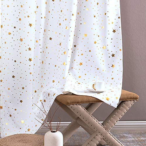 jinchan Light Filtering Curtains Grommet Top Gold Star PatternKids Bedroom Window Drapes Soft Sturdy Curtain for Living Room Window Treatment 2 Panels 63 Inches Length Bleach White