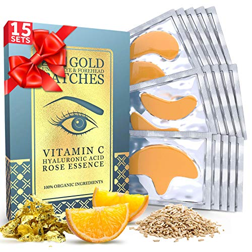 15 x 15 Under Eye and Forehead 24K Gold Patches - Anti-Aging Collagen Hyaluronic Acid Pads Helps Reducing Puffiness & Wrinkles & Dark Circles Bags - Gel Bags With No Parabens, Hidden Chemicals, Side Effects