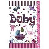 Susy Card 40009834 Grußkarte zur Geburt/ Mädchen 'Kinderwagen, Storch', Maße: 17 x 11 x 0, 1 cm