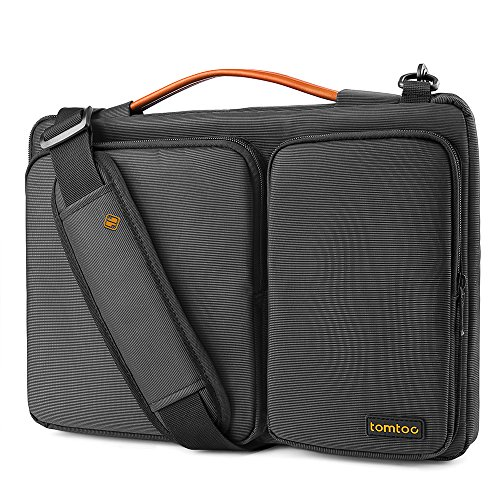 tomtoc 14 Inch 360° Protective Laptop Sleeve Shoulder Bag Compatible with 2020 New Dell XPS 17, 15 inch New MacBook Pro USB-C A1990 A1707, 14 inch ThinkPad X1 Carbon, Handle & Accessory Pocket, Black