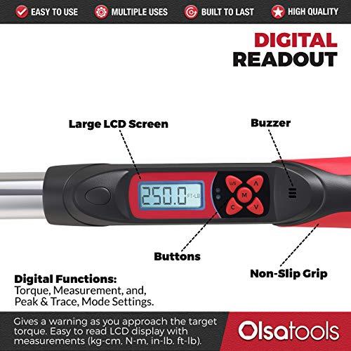 Olsa Tools Digital Torque Wrench, 1/2-Inch Drive (12.5-250 ft-lb Torque Range)   ±1% CW and ±2% CCW Torque Accuracy   Premium Ratcheting Adjustable Torque Wrench   Professional Grade