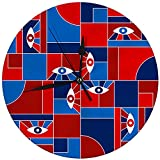 Reloj de Pared Redondo Cool Bauhaus geométrico con Ojos Decorativos para el hogar, la Oficina, la Escuela