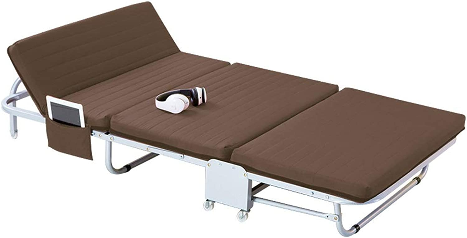 Folding Bed Brown Household Folding Single Simple Bed Office Invisible Portable Accompanying Camping Bold Pipe Rack Living Room Office Furniture (color   Brown, Size   180  65  25.5cm)