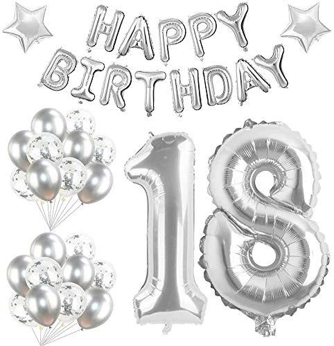 Youngneer - Globo de 18 cumpleaños gigante de helio con estrella plateada, 101 cm, para 40 cumpleaños, boda, fiesta, mujer, hombre, cumpleaños