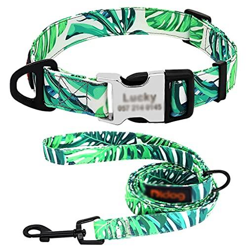 HBAO Conjunto de collar y correa de perro con estampado de nailon Collares de identificación de perro grabados Cuerda de plomo para caminar para perros pequeños (Color : B, Size : L code)