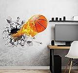 Aoligei 3D Basket Adesivi da Parete, Vista Effetto 3D Fuori dalla Finestra Decorazione Rimovibili DIY Stickers Murali per Soggiorno, Camera dei Bambini