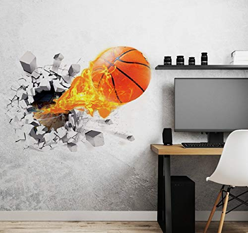 Aoligei 3D Basketball Wall Stickers Living Room Bedroom Decal Cartoon Boys Teens Kids Children Room Removable Self Adhesive Wall Stickers Wallpaper Poster