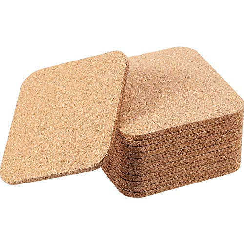 Square Wooden Thick Cork Drink Coasters for Kitchen Restaurant Home Bar Cafe Wedding Supplies (4 x 4 Inch, 12 Pieces)