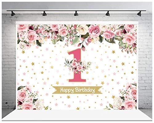AIIKES 7x5FT 1er cumpleaños bebé fotografía fondo punto de inflamación rosa floral fondo fiesta decoración pastel mesa banner 11-536