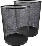 Metal Mesh Bin, Black Metal Trash Bin, Wastebasket Bin, Waste Paper Bin Lightweight Black Bin for Office, Home Pack Of 2 (Black Round)